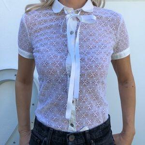 Dolce & Gabbana Lacey White Button Down